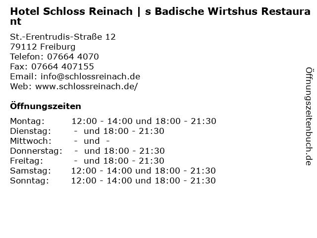 Hotel Schloss Reinach | s Badische Wirtshus Restaurant in Freiburg: Adresse und Öffnungszeiten