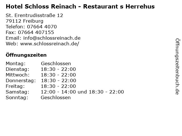 Hotel Schloss Reinach - Restaurant s Herrehus in Freiburg: Adresse und Öffnungszeiten