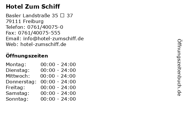 Hotel Zum Schiff in Freiburg: Adresse und Öffnungszeiten