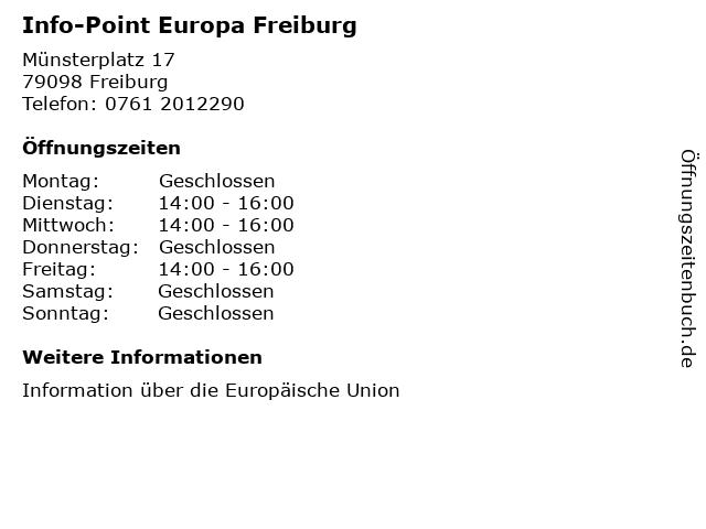 Info-Point Europa Freiburg in Freiburg: Adresse und Öffnungszeiten
