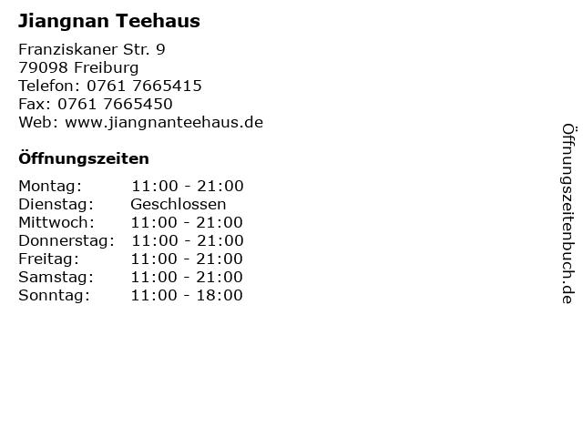 Jiangnan Teehaus in Freiburg: Adresse und Öffnungszeiten