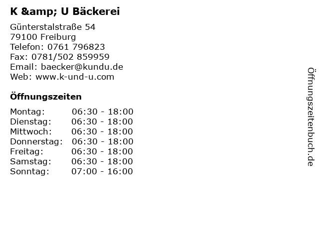 K & U Bäckerei in Freiburg: Adresse und Öffnungszeiten