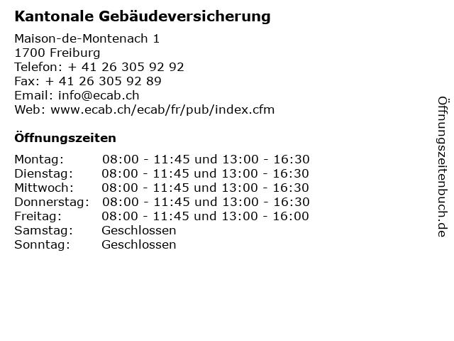 Kantonale Gebäudeversicherung in Freiburg: Adresse und Öffnungszeiten