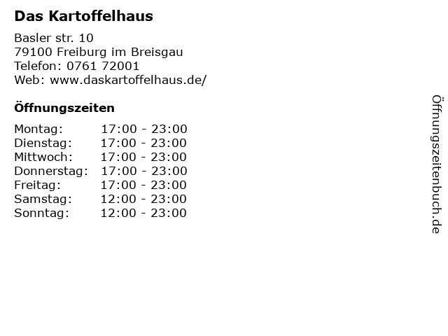 Kartoffelhaus - Restaurant in Freiburg: Adresse und Öffnungszeiten