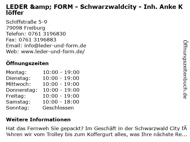 Leder & Form in Freiburg: Adresse und Öffnungszeiten