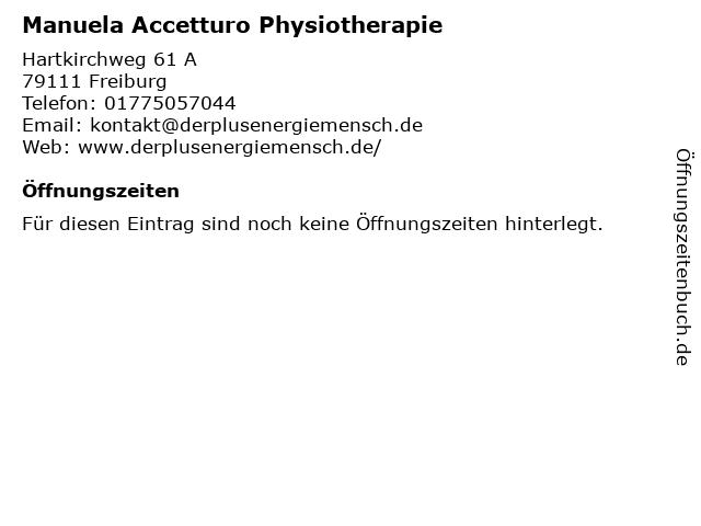 Manuela Accetturo Physiotherapie in Freiburg: Adresse und Öffnungszeiten