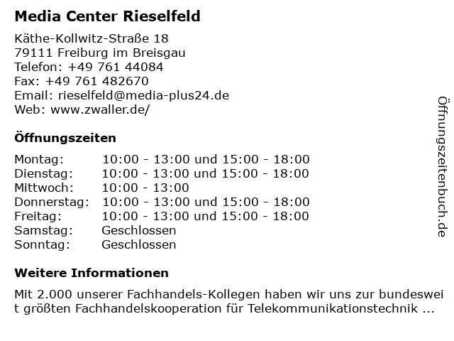 Media Center Rieselfeld in Freiburg: Adresse und Öffnungszeiten