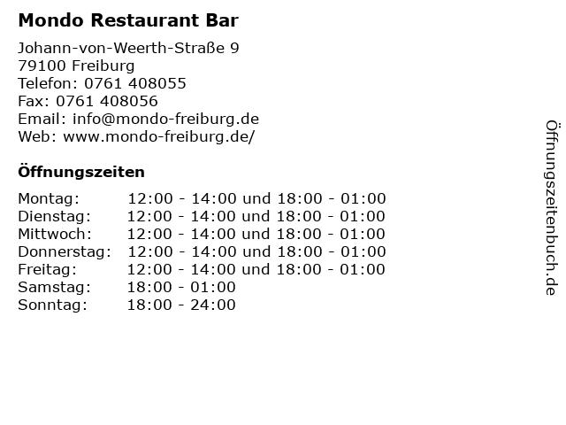 Mondo Restaurant Bar in Freiburg: Adresse und Öffnungszeiten
