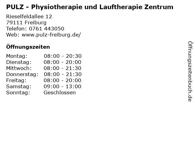 PULZ - Physiotherapie und Lauftherapie Zentrum in Freiburg: Adresse und Öffnungszeiten