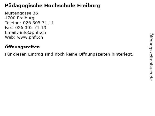 Pädagogische Hochschule Freiburg in Freiburg: Adresse und Öffnungszeiten
