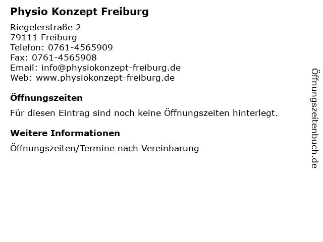 Physio Konzept Freiburg in Freiburg: Adresse und Öffnungszeiten