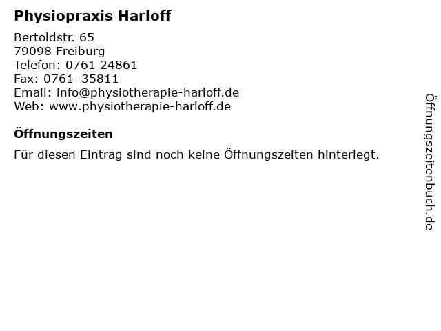 Physiopraxis Harloff in Freiburg: Adresse und Öffnungszeiten