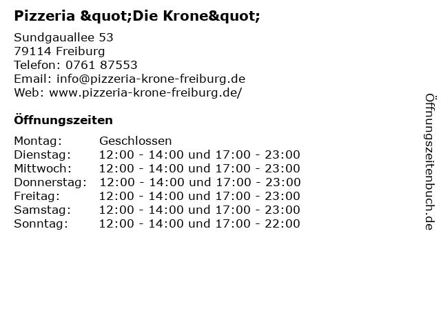 """Pizzeria """"Die Krone"""" in Freiburg: Adresse und Öffnungszeiten"""