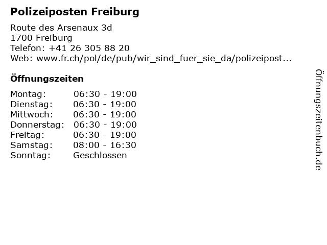 Polizeiposten Freiburg in Freiburg: Adresse und Öffnungszeiten