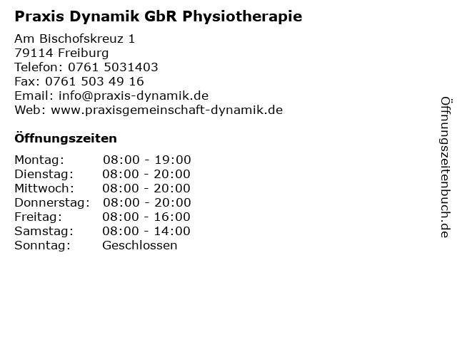 Praxis Dynamik GbR Physiotherapie in Freiburg: Adresse und Öffnungszeiten