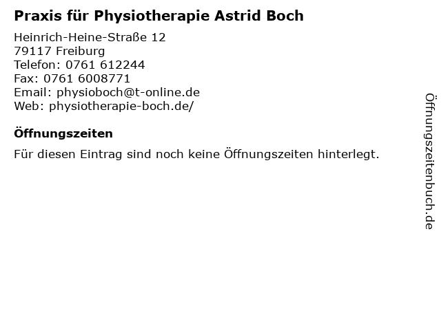 Praxis für Physiotherapie Astrid Boch in Freiburg: Adresse und Öffnungszeiten