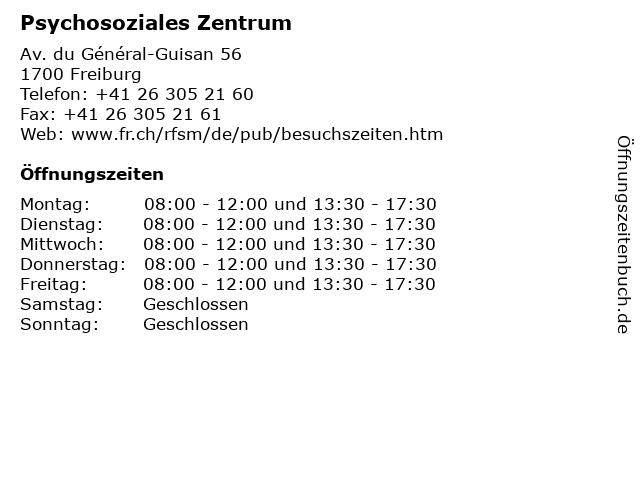 Psychosoziales Zentrum in Freiburg: Adresse und Öffnungszeiten