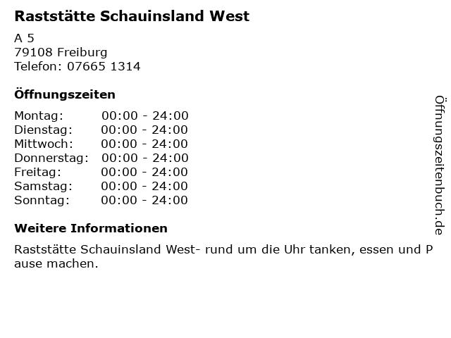 Raststätte Schauinsland West in Freiburg: Adresse und Öffnungszeiten