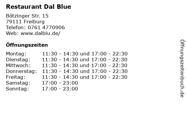 Restaurant Dal Blue in Freiburg: Adresse und Öffnungszeiten