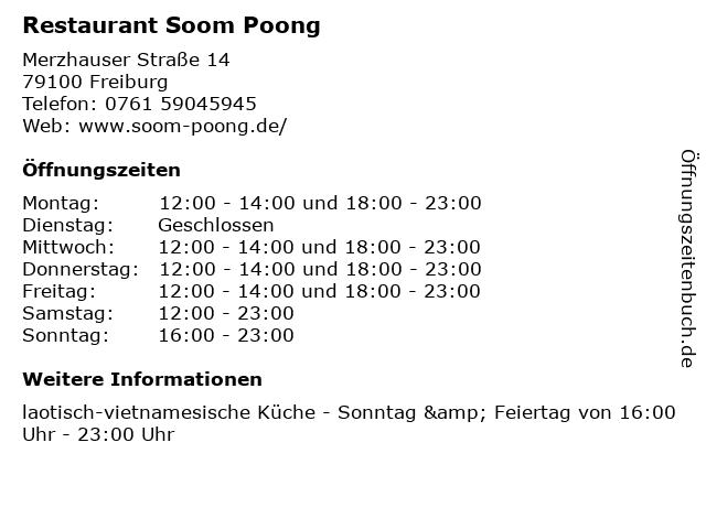 Restaurant Soom Poong in Freiburg: Adresse und Öffnungszeiten