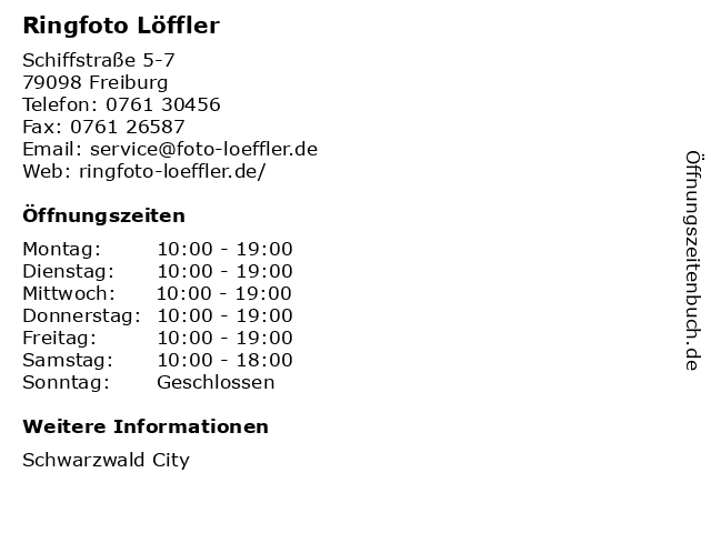 Ringfoto Löffler in Freiburg: Adresse und Öffnungszeiten