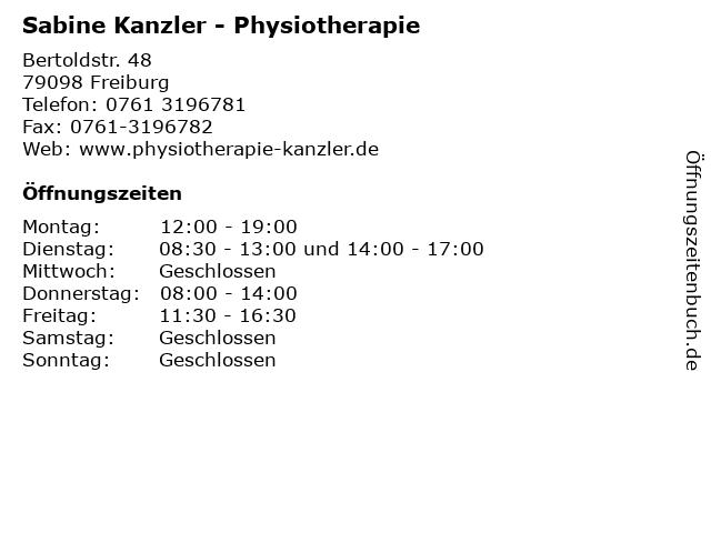 Sabine Kanzler - Physiotherapie in Freiburg: Adresse und Öffnungszeiten
