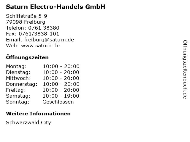 Saturn Electro-Handels GmbH in Freiburg: Adresse und Öffnungszeiten