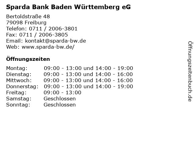Sparda Bank Baden Württemberg eG in Freiburg: Adresse und Öffnungszeiten