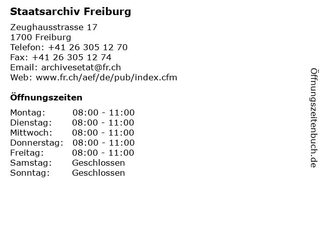 Staatsarchiv Freiburg in Freiburg: Adresse und Öffnungszeiten