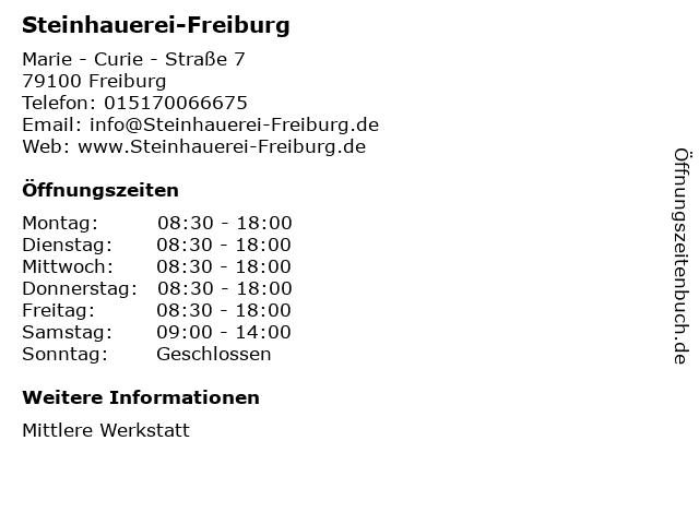 Steinhauerei-Freiburg in Freiburg: Adresse und Öffnungszeiten