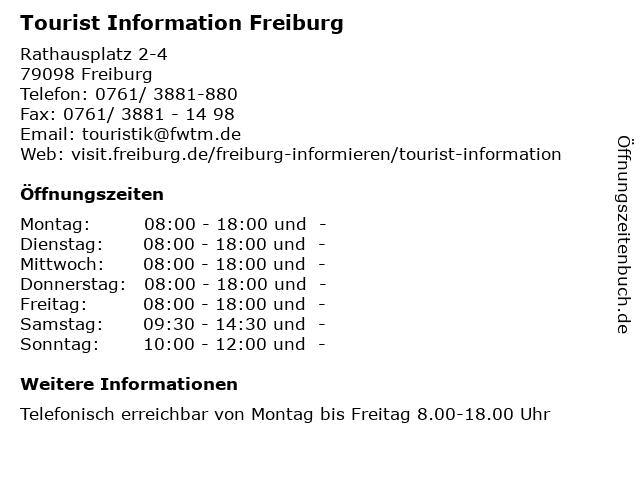 Tourist Information Freiburg in Freiburg: Adresse und Öffnungszeiten