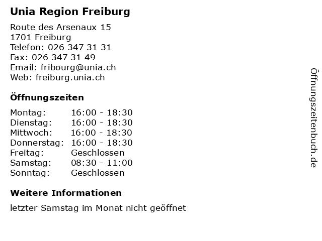 Unia Region Freiburg in Freiburg: Adresse und Öffnungszeiten