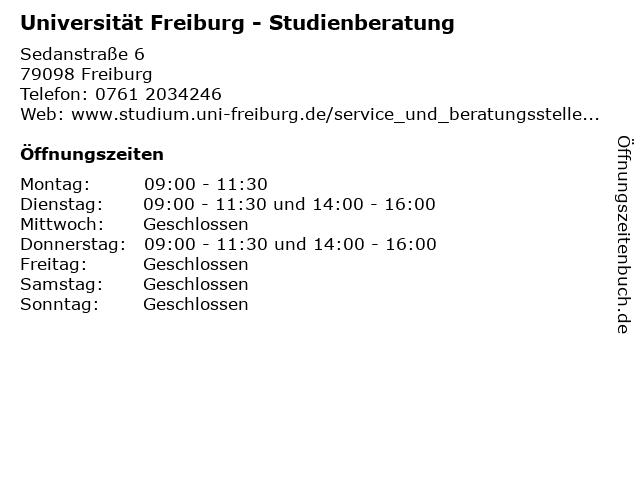 Universität Freiburg - Studienberatung in Freiburg: Adresse und Öffnungszeiten