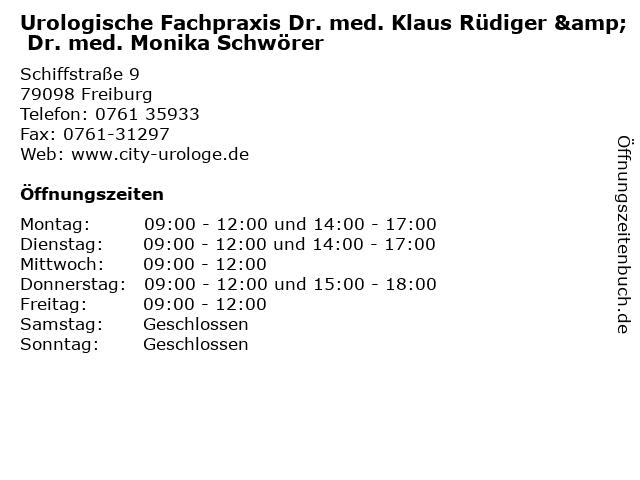 Urologische Fachpraxis Dr. med. Klaus Rüdiger & Dr. med. Monika Schwörer in Freiburg: Adresse und Öffnungszeiten