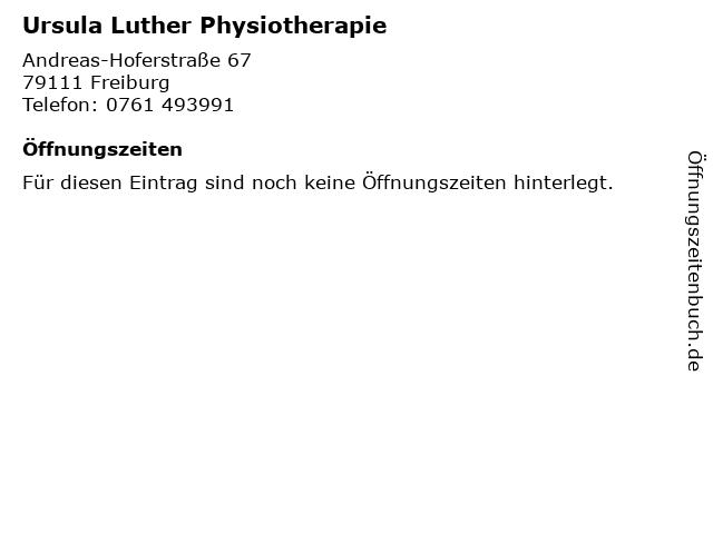 Ursula Luther Physiotherapie in Freiburg: Adresse und Öffnungszeiten