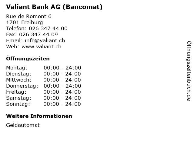 Valiant Bank AG (Bancomat) in Freiburg: Adresse und Öffnungszeiten