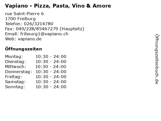 Vapiano - Pizza, Pasta, Vino & Amore in Freiburg: Adresse und Öffnungszeiten