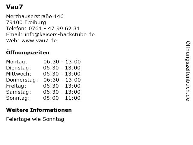 Vau7 in Freiburg: Adresse und Öffnungszeiten