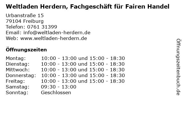 Weltladen Herdern, Fachgeschäft für Fairen Handel in Freiburg: Adresse und Öffnungszeiten