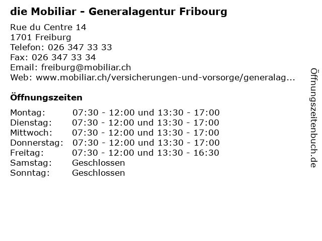 die Mobiliar - Generalagentur Fribourg in Freiburg: Adresse und Öffnungszeiten