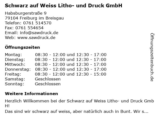 schwarz-auf-weiss Litho- und Druck GmbH in der FABRIK in Freiburg: Adresse und Öffnungszeiten