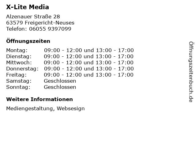 X-Lite Media in Freigericht-Neuses: Adresse und Öffnungszeiten