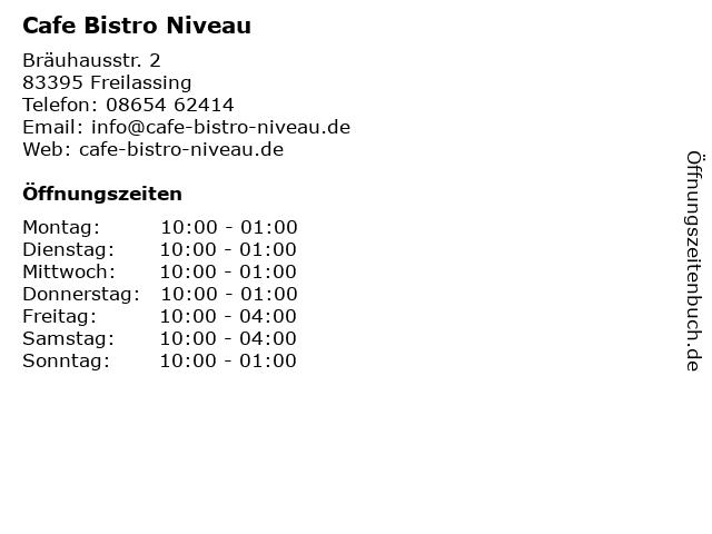Cafe Bistro Niveau in Freilassing: Adresse und Öffnungszeiten