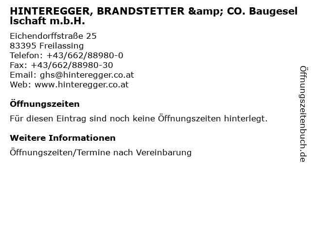 HINTEREGGER, BRANDSTETTER & CO. Baugesellschaft m.b.H. in Freilassing: Adresse und Öffnungszeiten