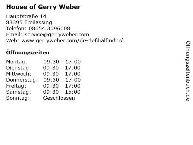 HOUSE OF GERRY WEBER in Freilassing: Adresse und Öffnungszeiten