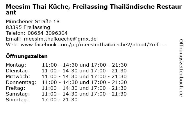 Meesim Thai Küche, Freilassing Thailändische Restaurant in Freilassing: Adresse und Öffnungszeiten