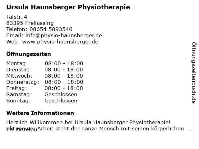 Physiotherapie Ursula Haunsberger in Freilassing: Adresse und Öffnungszeiten