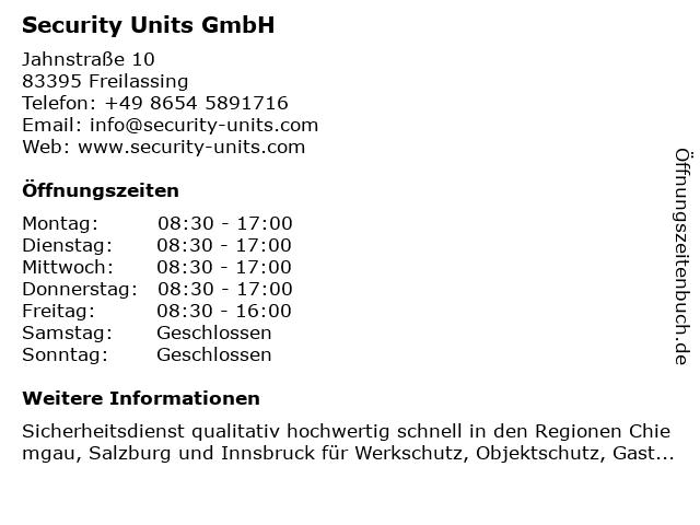Security Units GmbH in Freilassing: Adresse und Öffnungszeiten