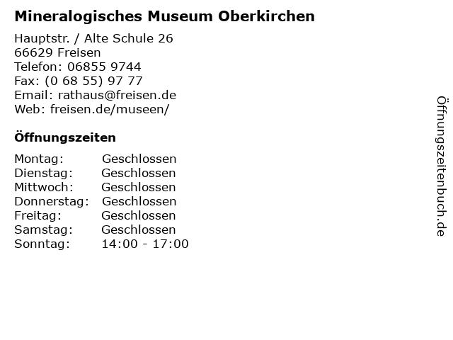 Mineralogisches Museum Oberkirchen in Freisen: Adresse und Öffnungszeiten
