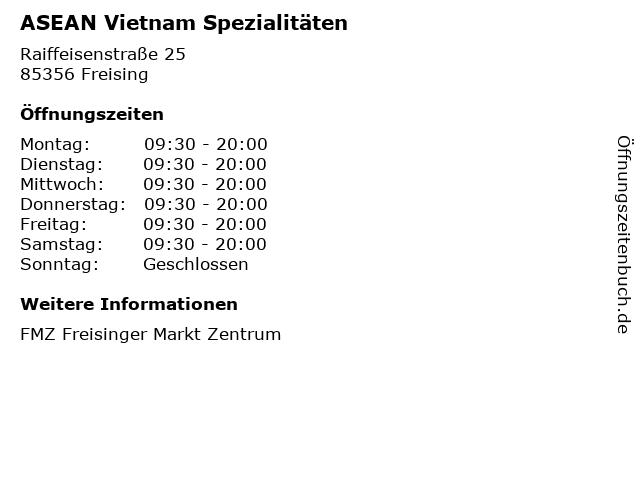 ASEAN Vietnam Spezialitäten in Freising: Adresse und Öffnungszeiten
